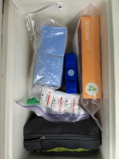 The Cool Cooler has CGM sensors, Omnipods, BG strips, pharmaceuticals, gummy packs for low BGs and more.